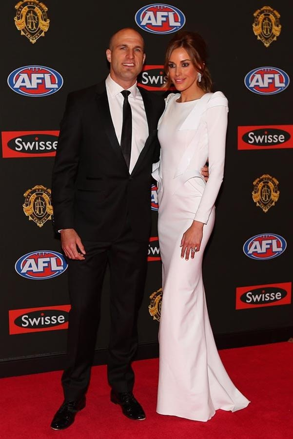 Chris & Rebecca Judd at the 2012 Brownlow Medal, Rebecca was queen of the WAGs in this stunning white gown by Toni Maticevski.