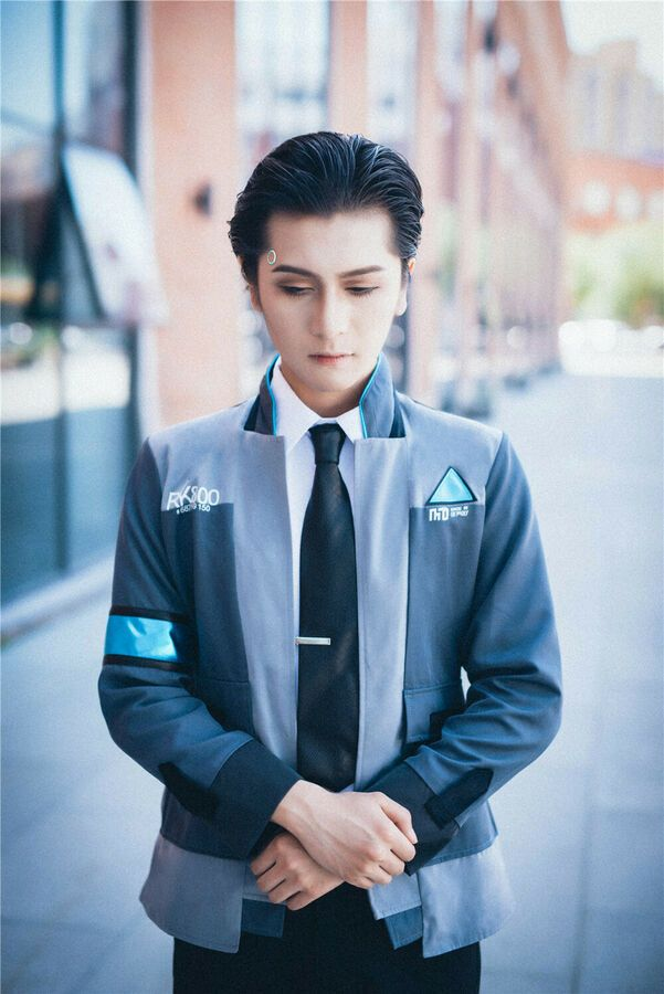 Become Human Connor Mens Cosplay Coat Jacket Set Costume Suit Outfit Detroit