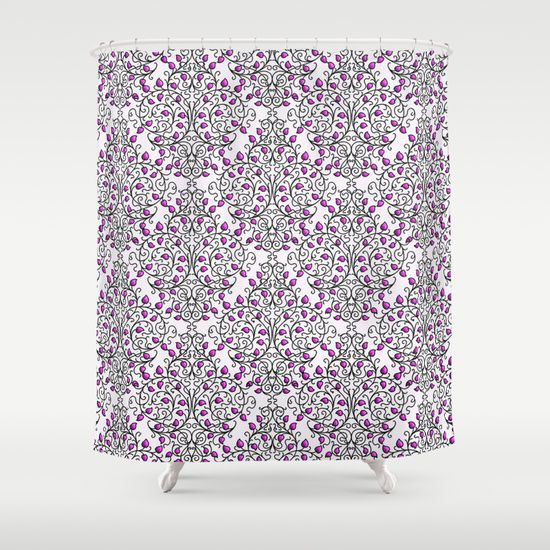 damask nature pink shower curtain