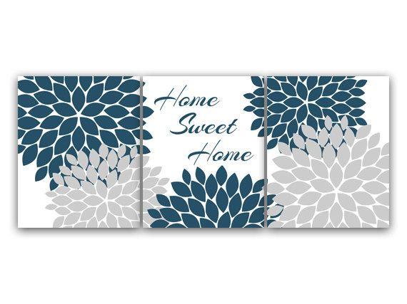 Home Decor Wall Art, Home Sweet Home, Slate Blue Wall Art, Flower Burst Bathroom Wall Decor, Blue and Grey Bedroom Wall Art - HOME55 on Etsy, $20.00