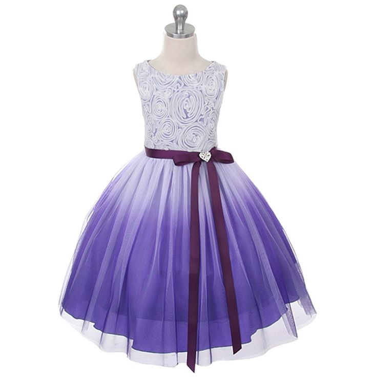Stunning Kids Dream special occasion purple ombre rosette dress just for your beautiful girl! Dress features stunning ombre design, rosette top and finished with a shiny heart brooch.