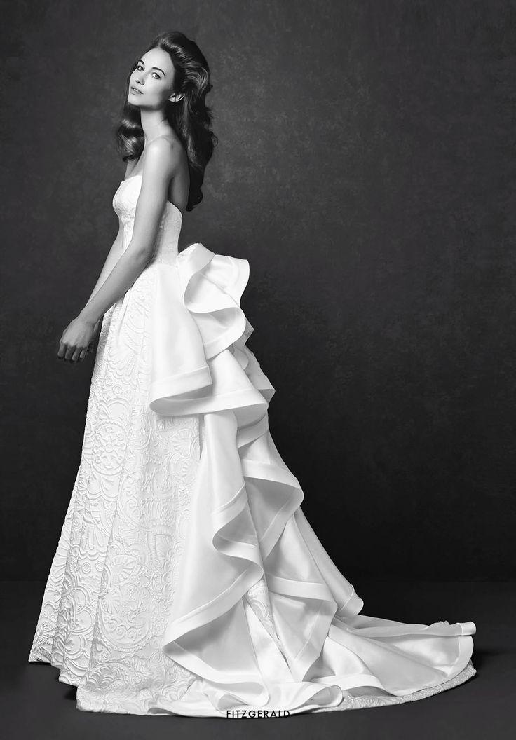 Collezione Signature 2015 - Elisabetta Polignano: Abito con stampe jacquard e volant sul retro  #wedding #weddingdress #weddinggown #abitodasposa