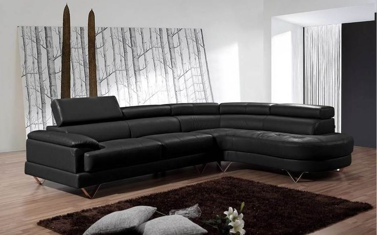 Corsica lounge with a round corner chaise, Black
