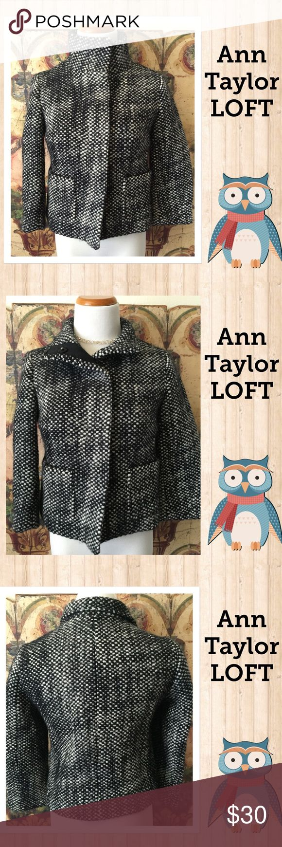 Ann Taylor LOFT extra small petite coat Made by Ann Taylor LOFT this is an extra small petite coat. Has front pockets, a collar that can go up or down, and easy snap closures. Made of wool, acetate, nylon and polyester. No flaws found LOFT Jackets & Coats