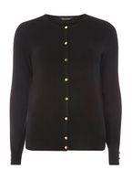 Womens Black Gold Button Cotton Cardigan- Black