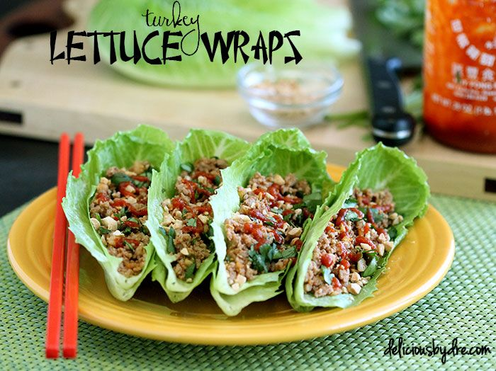 healthy asian turkey lettuce wraps, tastes just like  what you order in a restaurant!! less than 300 calories, only 7.6 carbs, and 58 grams of protein for the entire plate shown in the picture!!