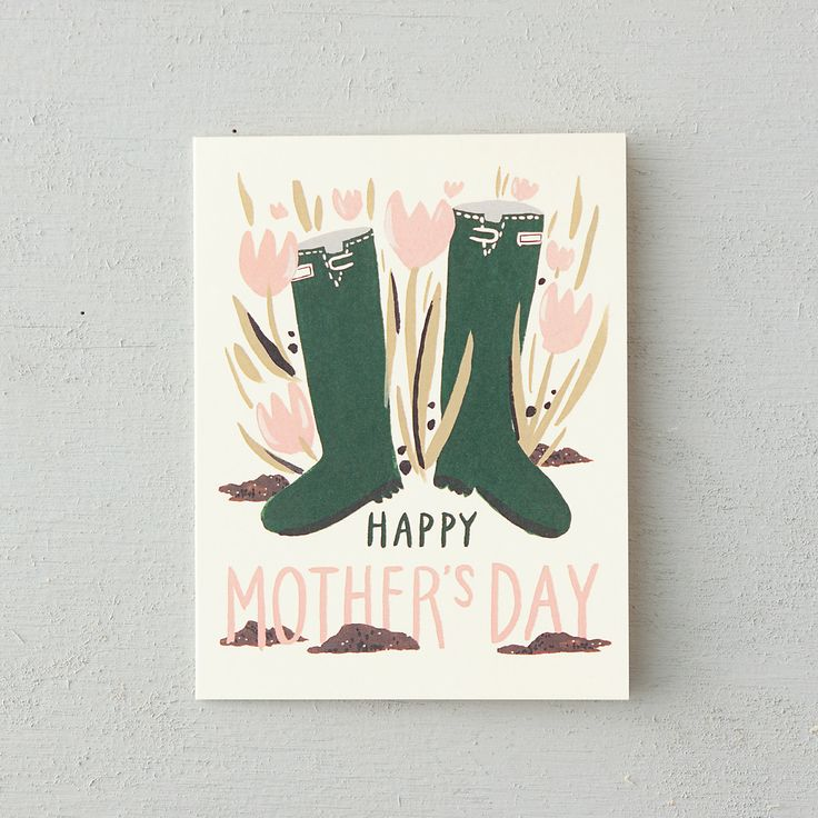 Green Wellies Mother's Day Card