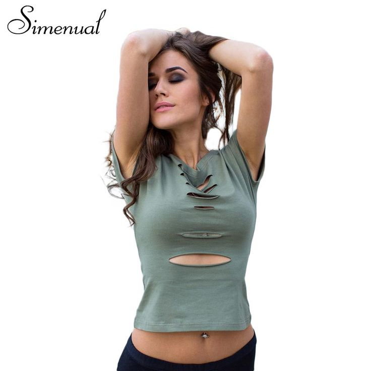 Simenual Ripped cut out vintage t shirt women clothing army green crop top summer female t-shirt sexy hot women's t-shirts tops //Price: $33.64 & FREE Shipping //     #Jewelry