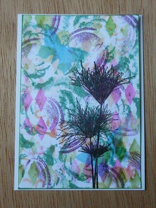 Magenta stamp + stencil background, made by Enny