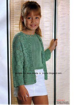 Casaco em crochê para menina tamanho 8 anos, receita abaixo