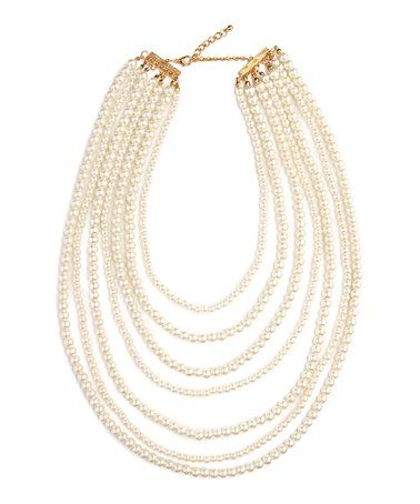 Another great find on #zulily! Cream Seven-Layer Faux Pearl Draped Necklace #zulilyfinds