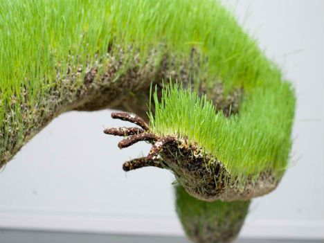 'Life of Grass' suspended grass figures by French artist Mathilde Roussel