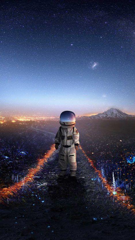 Astronaut Kid In Paradise Iphone Wallpaper