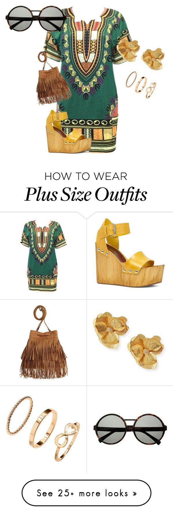 """""""Plus size dashiki style"""" by kristie-payne on Polyvore featuring ALDO, Kenneth Jay Lane and H&M"""
