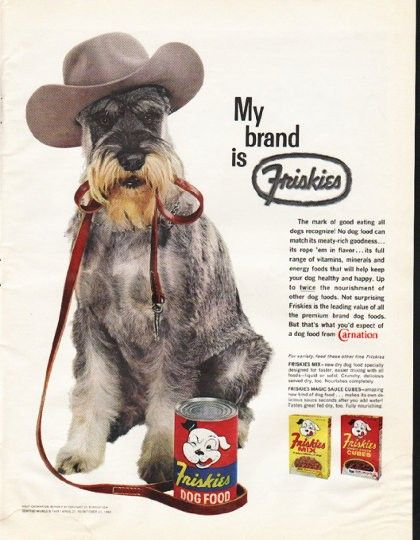 "1961 FRISKIES DOG FOOD vintage magazine advertisement ""My brand"" ~ My brand is Friskies - The mark of good eating all dogs recognize! No dog food can match its meaty-rich goodness ... its rope 'em in flavor ... its full range of vitamins, minerals ..."