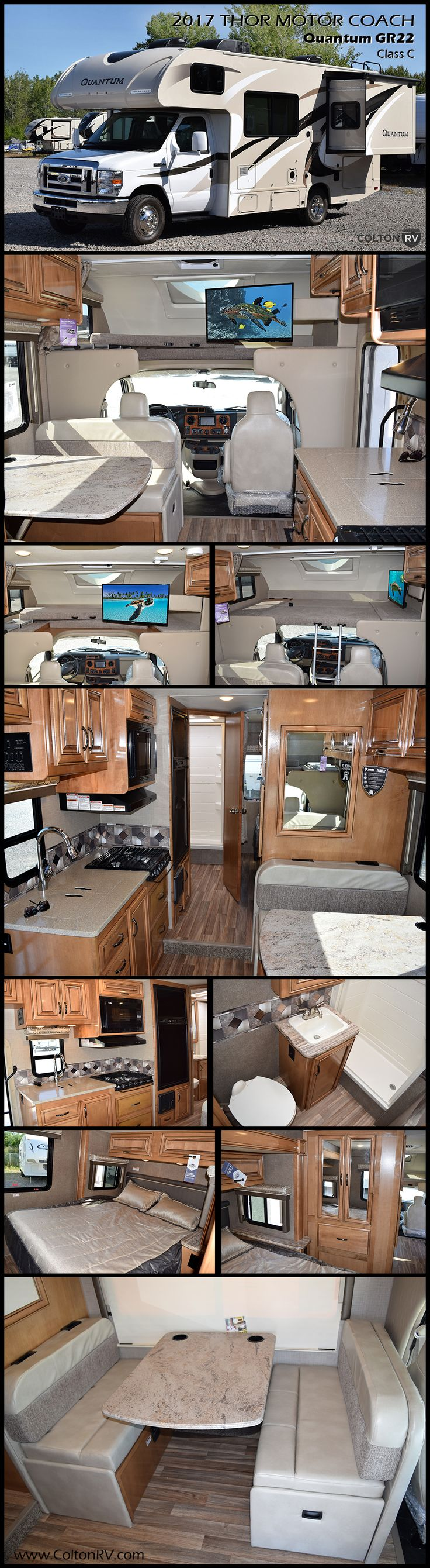 If you are on the market for a versatile Class C RV, but you need top quality decor and finishes, then the Quantum is for you! A rear bath, and rear side slide out queen bed are just a couple of the things that make this Thor Motor Coach Quantum class C gas motorhome unique providing sleeping space for 5, plus more! The cab-over bunk will be a favorite of the kids to sleep up top.