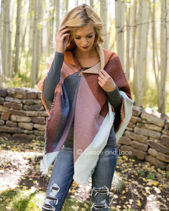 Grace and Lace - (**new item**) Blanket Scarf/Pinned Poncho, $34.00 (http://www.graceandlace.com/all/new-item-blanket-scarf-pinned-poncho/)