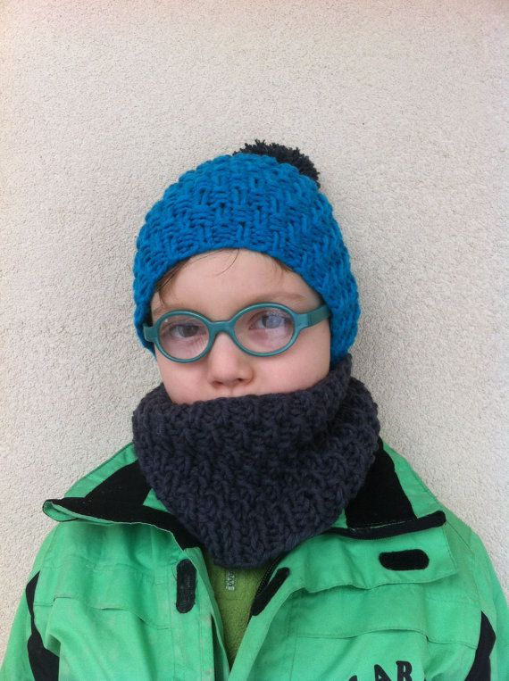 Knitting Pattern Blue Hat and Grey Neckwarmer Hat by Mursulla