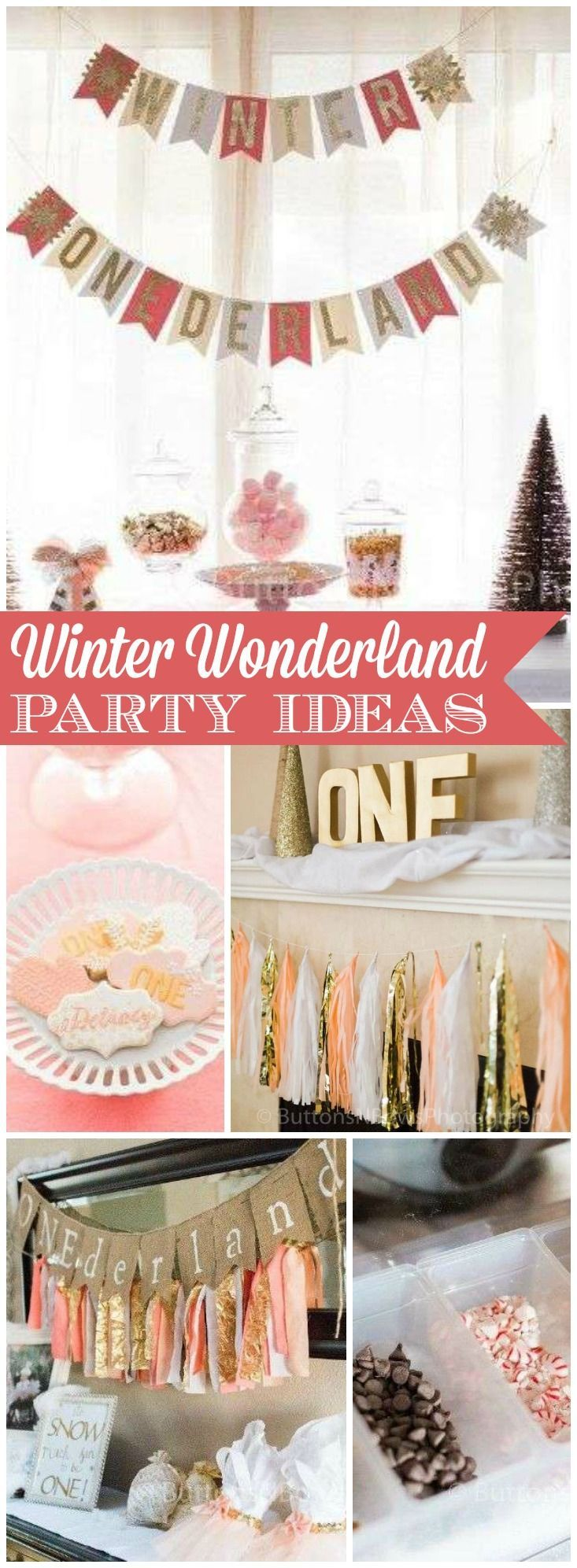 Love this Winter ONEderland party in peach, gold and white! See more party ideas at http://CatchMyParty.com!