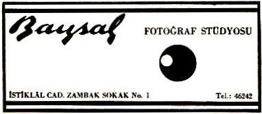 Baysal fotoğraf stüdyosu İstiklal caddesi.