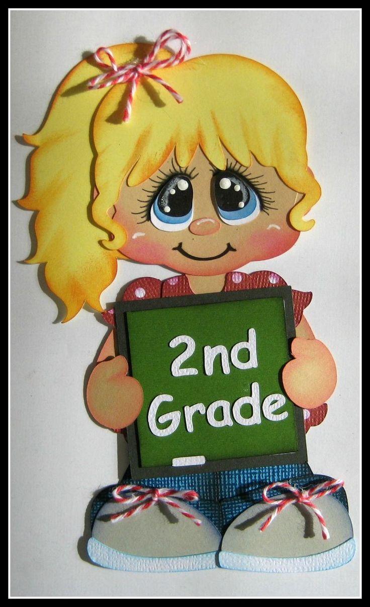 SCHOOL GIRL you choose GRADE blonde hair for Premade Scrapbook Page by Rhonda