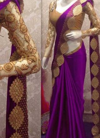 Purple Embroidery Cut Work Satin Georgette Designer Party Wear Sarees http://www.angelnx.com/Sarees/Designer-Sarees