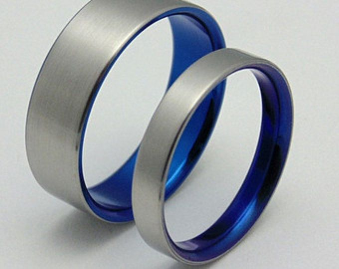 His And Hers Cobalt Blue Anodized Wedding Band Set Etsy Titanium Wedding Band Blue Wedding Band Wedding Band Sets