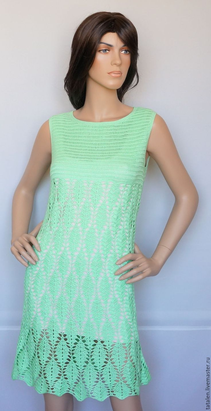 """Купить Платье """"Пастель-мята"""" - мятный, однотонный, ручная авторская работа, платье связанное крючком"""