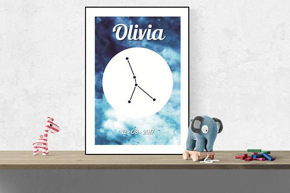 Custom Cancer wall art Zodiac constellation name print