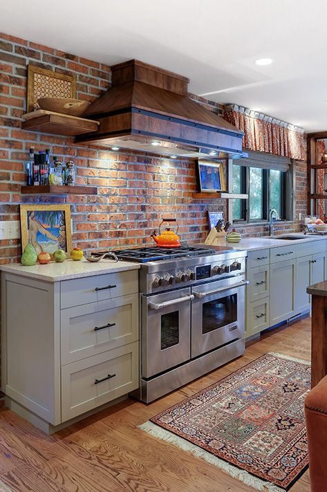 This kitchen features Glen-Gery Brick's Milwaukee Thin Brick. Add an exposed…