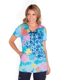 koi Bridgette Island Blues Print Top - new for Spring '13 from Happythreads.  Combine with Navy, Ice Blue or Turquoise FIND US on www.happythreads.co.uk #dental #uniforms #nurse #female #scrubs #tunics #top #healthcare #koi #bridgitte #happythreads