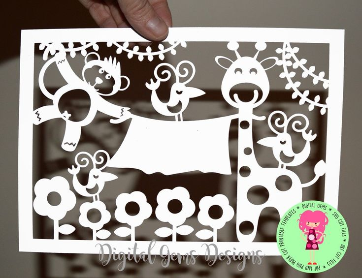 Monkey & Giraffe Papercut Template SVG / DXF Cutting File For Cricut / Silhouette, And PDF Printable File For Hand Cutting Download by DigitalGems on Etsy