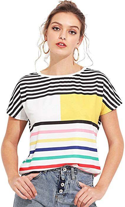 ebcfb9585ea7f Amazon.com: ROWME Women's Mixed Stripe Short Sleeve T-shirt Color ...