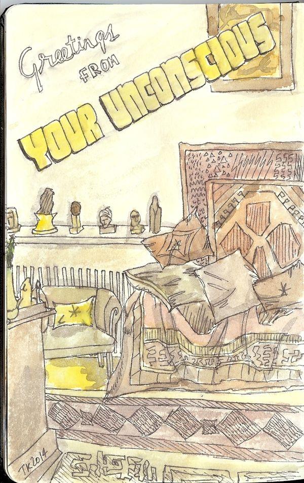 From my Moleskine - Sigmund Freud's study in London. Stabilo pen & watercolours   Tali Kord