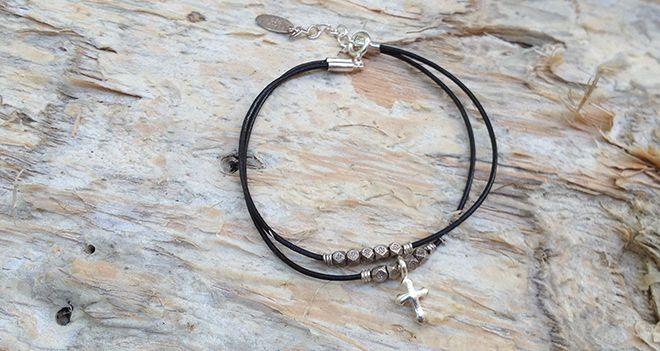 Cross Leather Bracelet with beading - Unisex. Find it at www.giftedmemoriesjewellery.com.au