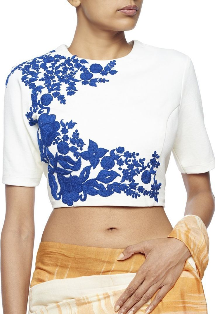 White crop top with blue floral embroidery by Ridhi Mehra - Shop at Aza