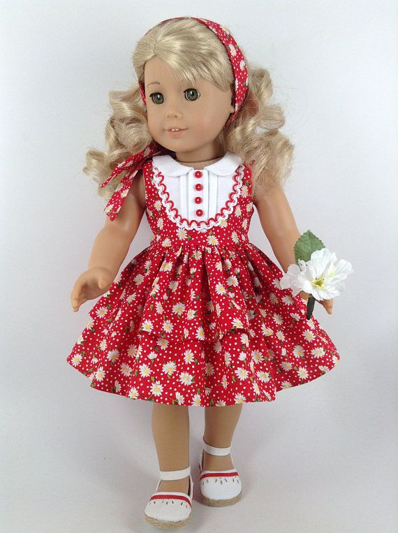 American Girl 18-inch Doll Clothes - Red Tiered Floral Dress, Matching Bloomers, & Hair Tie