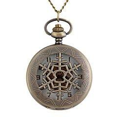 ヴィンテージ大きな円形の中空雪片金属クラム機械式懐中時計のネックレスの腕時計(1個)