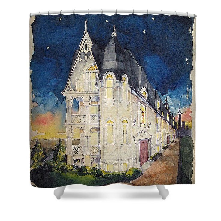 """THE VICTORIAN BUILDING"" Shower Curtains Shower Curtain by award-winning original artist RjFxx at beautifullart com. This beautiful shower curtain is made from 100% polyester fabric and include 12 holes at the top of the curtain for simple hanging from your own shower curtain rings. Curtain size 71 inches wide x 74 inches tall. 30 Day Money Back Guarantee. Ships Worldwide fast. *All rights reserved."