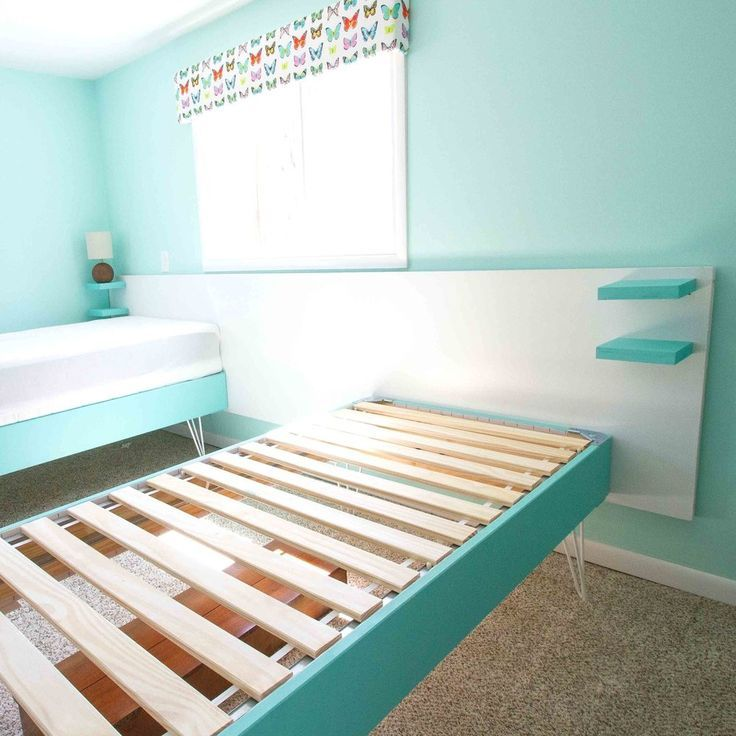 Take Ikea S Eapevar Bed Frame Add Some Paint And Hairpin Legs And The Bed Goes From Basic And Boring To Retro Fun This In 2020 Ikea Bed Hack Ikea Twin