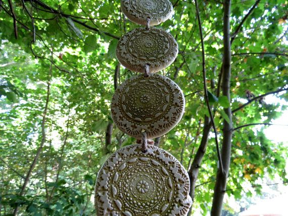 Keramik Windspiel Gartendeko Wanddeko kiwigrün von ...