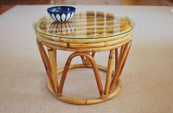 Round Rattan Stool Table Mid Century Reed Wicker