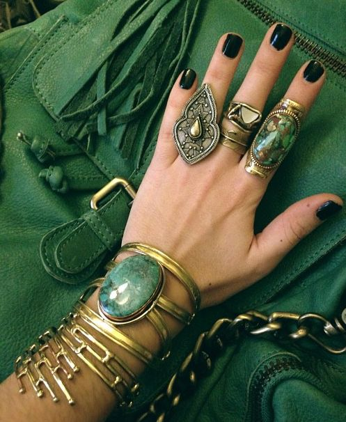 women's fashion and accessories.  jewelry.  bracelets.  rings.  boho.  green.