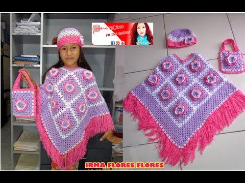 Como Con Pastillas A Cuadradas Un Tejida Hacer Poncho Paso Crochet BqBARfp