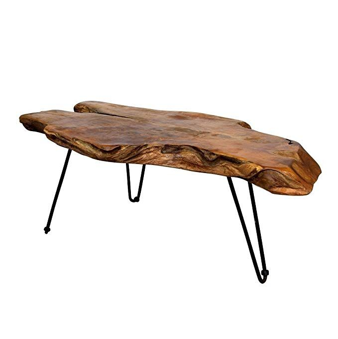 Amazon Com Natural Wood Edge Teak Coffee Cocktail Table With Clear Lacquer Finish Kitchen Din Coffee Table Wood Natural Wood Coffee Table Teak Coffee Table