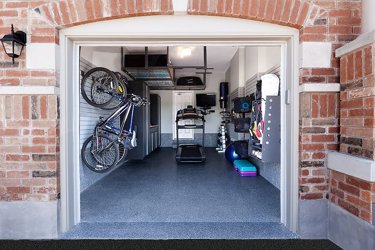 A garage transformed into a fitness room.