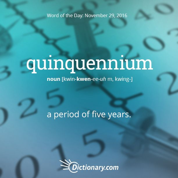 Dictionary.com's Word of the Day - quinquennium - a period of five years.