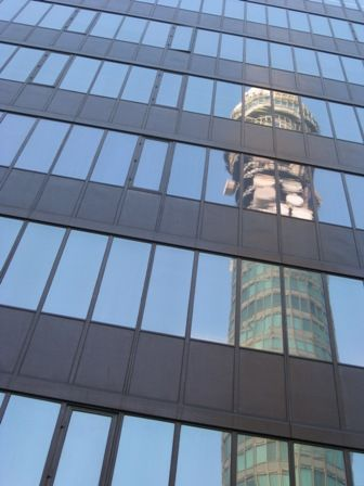 BT Tower reflection.