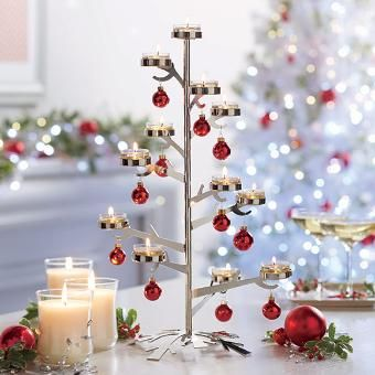 Silver Snowflake Tealight Tree Centerpiece 2015 Fall/Winter Catalogue
