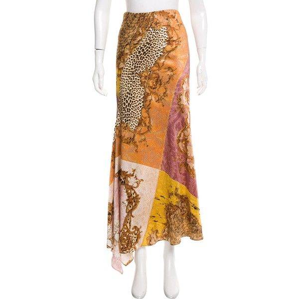 Pre-owned Roberto Cavalli Silk Maxi Skirt ($175) ❤ liked on Polyvore featuring skirts, yellow, beige maxi skirt, multi colored maxi skirt, patchwork skirt, long yellow skirt and colorful maxi skirts